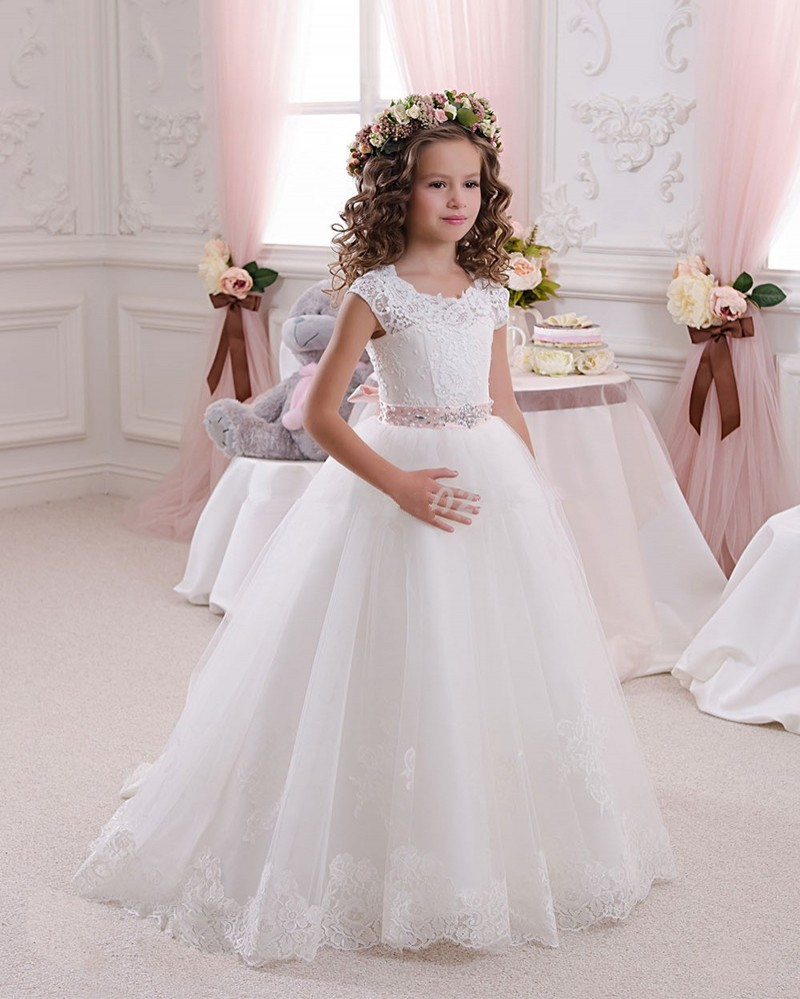2016 Lace A-Line Flower Girl Dresses Lovely Beading Short Sleeve First Communion Gowns For Girls 2016 Cheap Girls Pageant Dress
