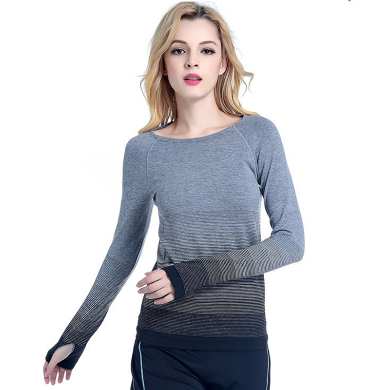 SALSPOR Women Tees Tops O-Neck Long Sleeve Breathable <font><b>Push</b></font> <font><b>Up</b></font> Tees Female Fashion Gradient Tops Workout T-<font><b>Shirt</b></font> Tops Feminine image