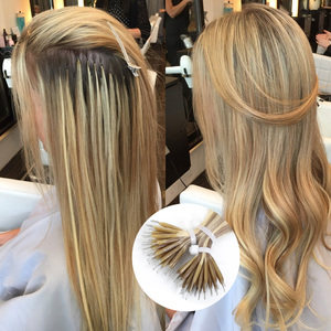"Image 1 - Isheeny 14 ""18"" 22 ""Remy Micro Kralen Hair Extensions In Nano Ring Links Human Hair Straight 9 kleuren Blond Europese Haar"