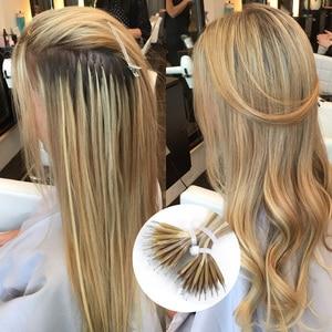 """Image 2 - Isheeny 14 """"18"""" 22 """"Remy boncuklu postiş saç ekleme Nano halka linkler insan saçı düz 9 renkler sarışın avrupa saç"""