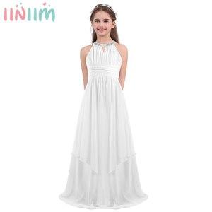 Image 1 - Iiniim ילדים נסיכת שמלת בנות ילדים שיפון Weeding שמלת נצנצים הלטר פרח שמלת ילדה Vestidos מסיבת תחפושות Teen