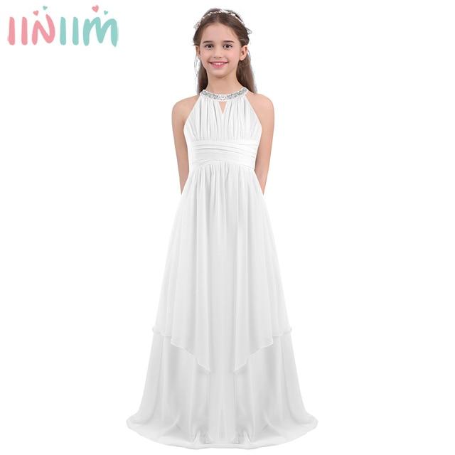 Iiniim ילדים נסיכת שמלת בנות ילדים שיפון Weeding שמלת נצנצים הלטר פרח שמלת ילדה Vestidos מסיבת תחפושות Teen