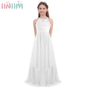 Image 1 - iiniim Childrens Princess Dress Girls Kids Chiffon Weeding Dress Sequined Halter Flower Girl Dress Vestidos Party Teen Costumes