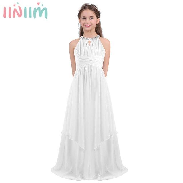 iiniim Childrens Princess Dress Girls Kids Chiffon Weeding Dress Sequined Halter Flower Girl Dress Vestidos Party Teen Costumes