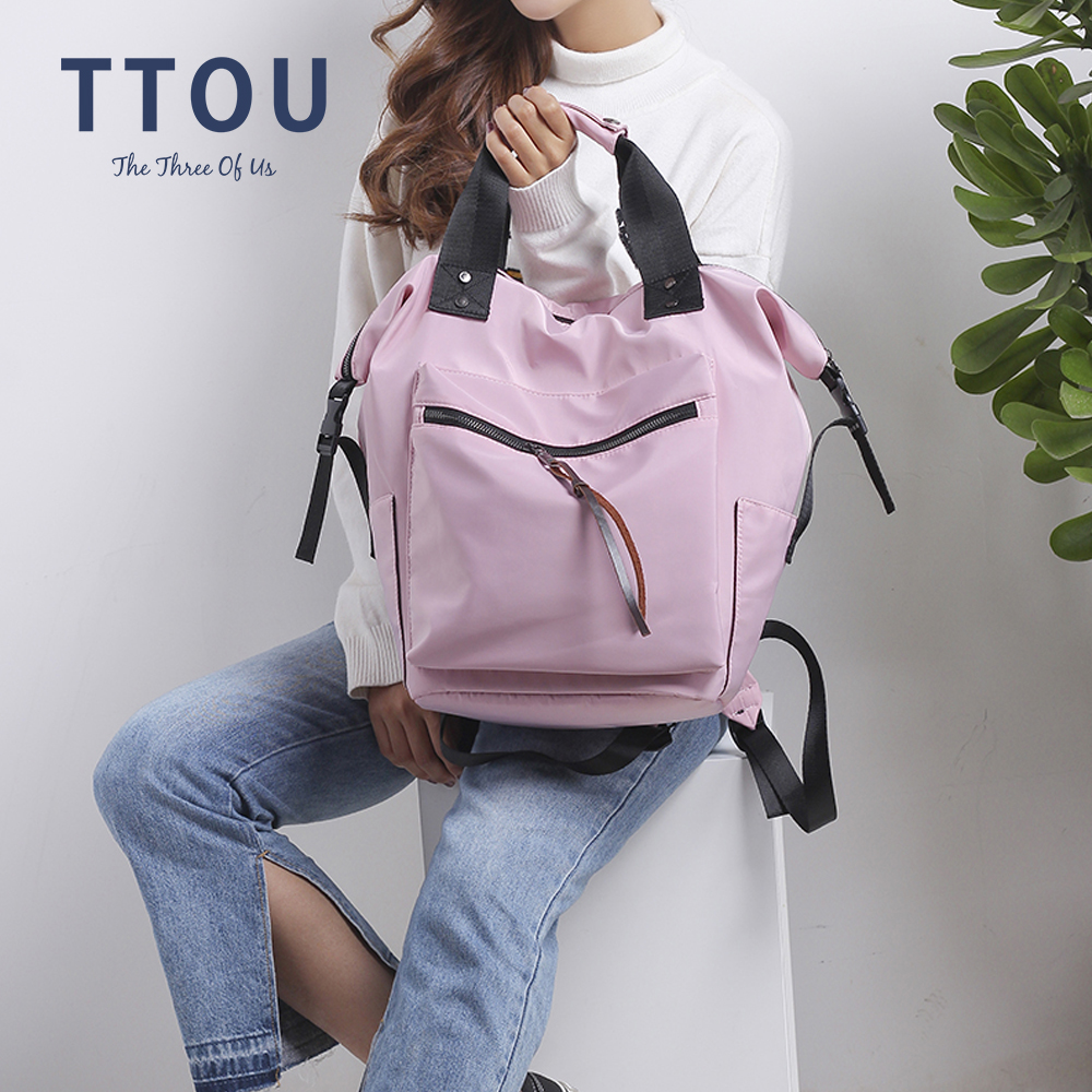 TTOU Nylon Backpack Women Casual Backpacks Ladies High Capacity Back To School Bag Teenage Girls Travel Students Mochila Bolsa