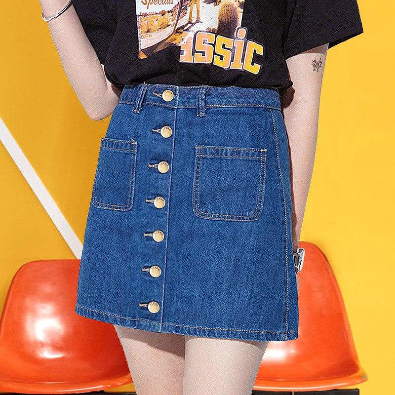 Chic Skirts Womens High Waist Single Breasted Pocket Mini Denim Skirt Women 2020 Spring Summer Button Short Jean Women Skirt