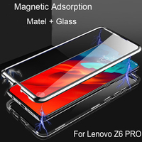 Magnetic Adsorption Flip Case For Lenovo Z6 Pro Metal Frame Doubl Tempered Glass Cover For Lenovo Z 6 Pro Protective Phone Case