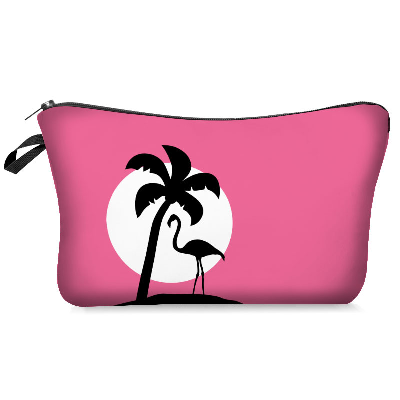 3D Print Cosmetic Bag Flamingo With Pink Color Fashion Portable Makeup Bag Travel Toiletry Organizer Make Up Bags Cosmetic Case