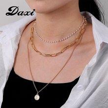 Модная Золотая цепочка daxi многослойное ожерелье портретная