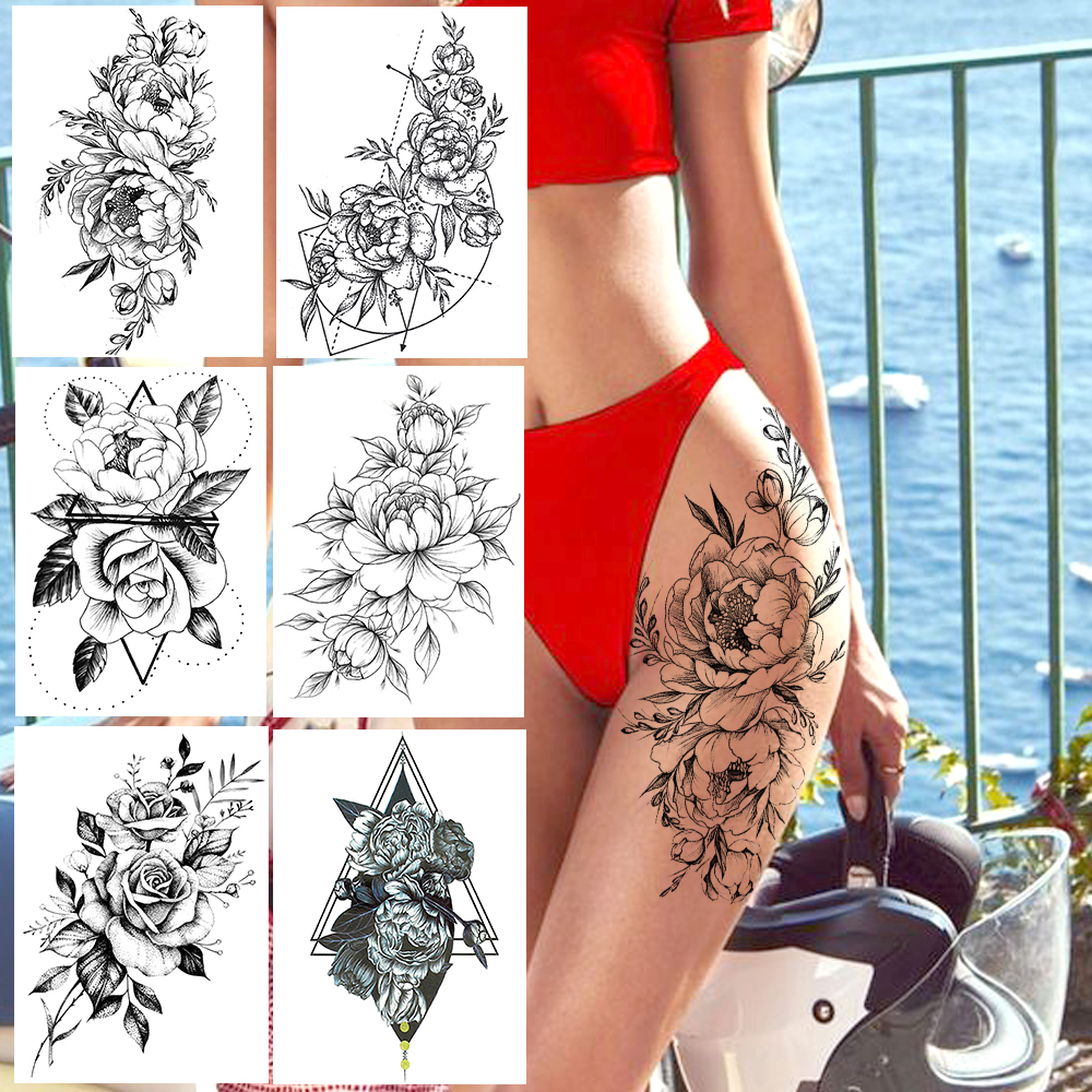 Realistic Sexy Peony Tattoos Temporary Women Adult Flower Arm Tattoos Sticker Waterproof Fake Floral Bloosom Body Leg Art Tatoos