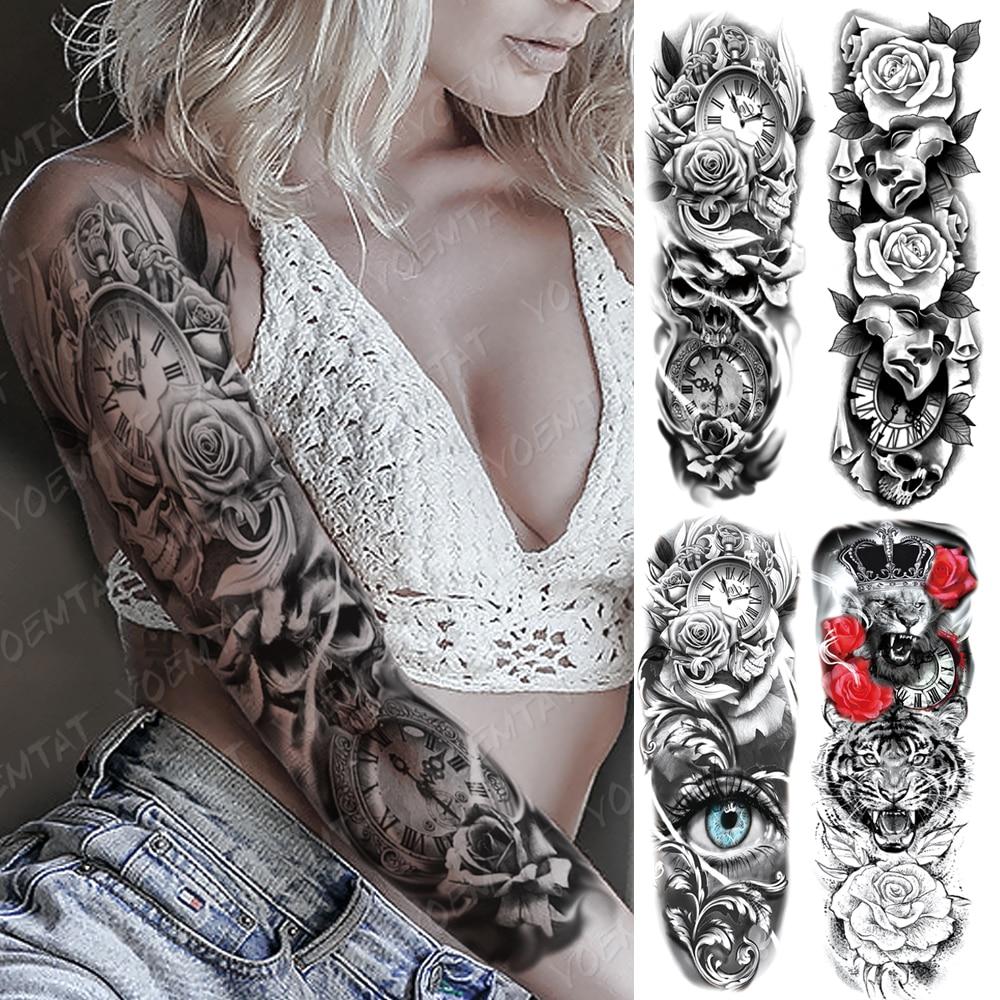 Большой рукав на руку, тату-часы, розовый глаз, Лев, водостойкая наклейка, цветок, время, боди-арт, полностью искусственная татуировка для жен...