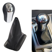 5/6 velocidade chrome & leather gear shift knob gearstick gaiter boot para toyota corolla 1998-2009 estilo do carro engrenagem shifter knob