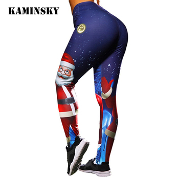Kaminsky Christmas Santa Claus Printed Leggings For Women High Waist Push Up Pants Leggings Feminina Winter Fitness Leggings image