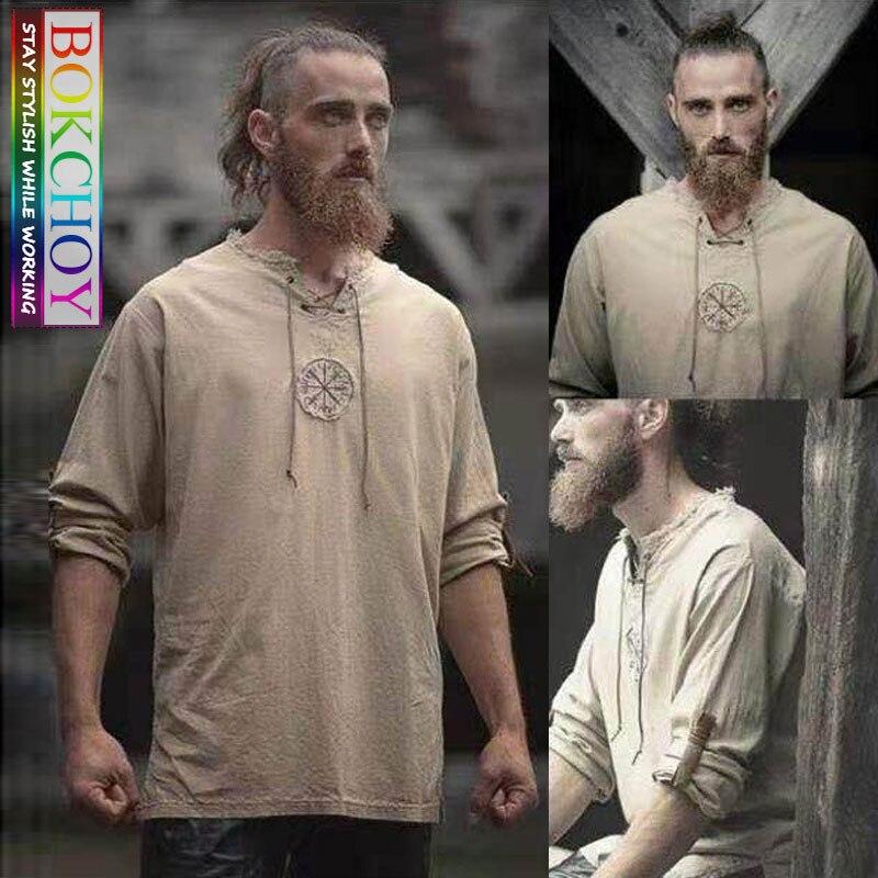 Long Sleeve Linen Shirt 2019 New Fashion Simple Multi Color Cotton Shirt Sleeve Male Round Neck  Men Autumn Printing Shirt