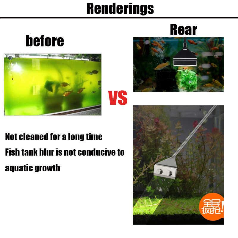 ZRDR 스테인레스 스틸 수족관 물고기 탱크 조류 스크레이퍼 블레이드 수생 물 라이브 식물 잔디 청소 멀티 도구 클리너 키트 세트