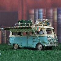 Metall Auto Modell Vintage RV Camper Van Spielzeug Simulation Limousine Strand Bus Wohnkultur für Desktop Regal keine muss für netzteil