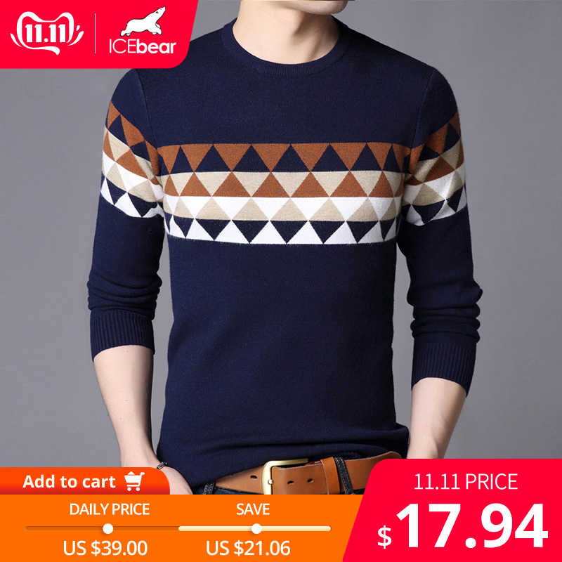 ICEbear 2019 Autumn New Male Sweater Casual Men's Pullover Brand Men's Clothing  1721