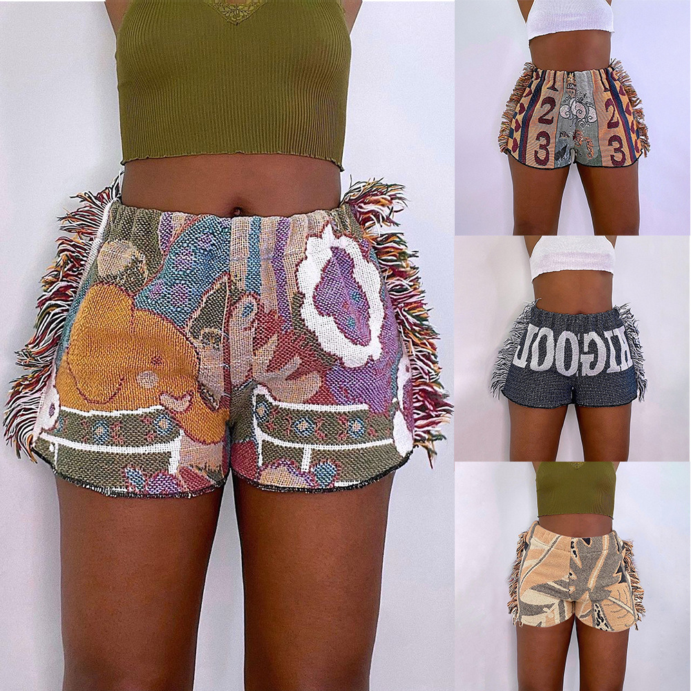 2021 Summer New Style Casual Fashion Positioning Printing Color Pattern Fringed Shorts Women's Clothing