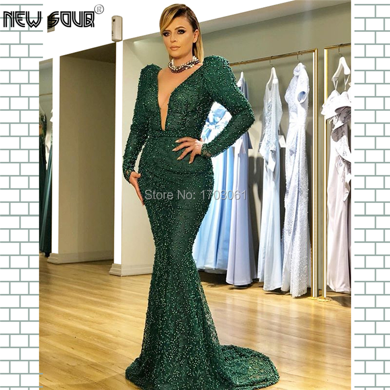 Beading   Evening     Dresses   Muslim Turkish Long V neck Prom   Dress   Robe De Soiree Abendkleider 2019 Dubai Party Gown For Saudi Arabic