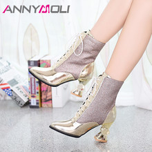 Купить с кэшбэком ANNYMOLI Winter Ankle Boots Women Patent Leather Super High Heel Short Boots Warm Bling Round Toe Shoes Lady Autumn Plus Size 43