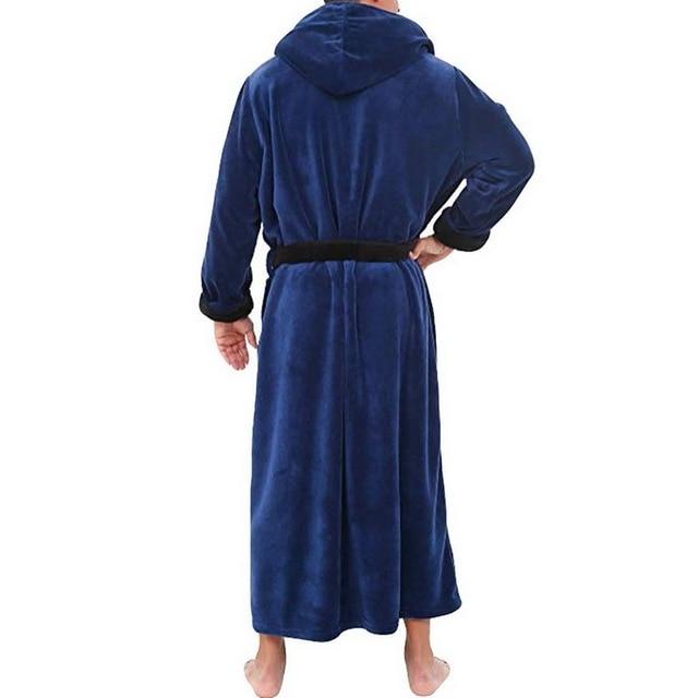 Mens Hooded Flannel Bathrobe 4