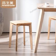 Living Room Small Stool Dining Stool Creative Modern Minimalist Household Solid Wood Bench Square Stool Thick Bamboo Stool Makeu