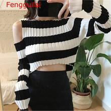 цена на Autumn Women Sweater O-Neck Cropped Sweater Off Shoulder Pullover Sweater Crop Top For Female