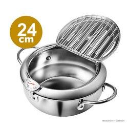 Keuken Frituren Pot Roestvrij Staal Temperatuurregeling Gebakken Kip Potten Mini Friteuse Pan Koken Tools Dining Bar Kookgerei