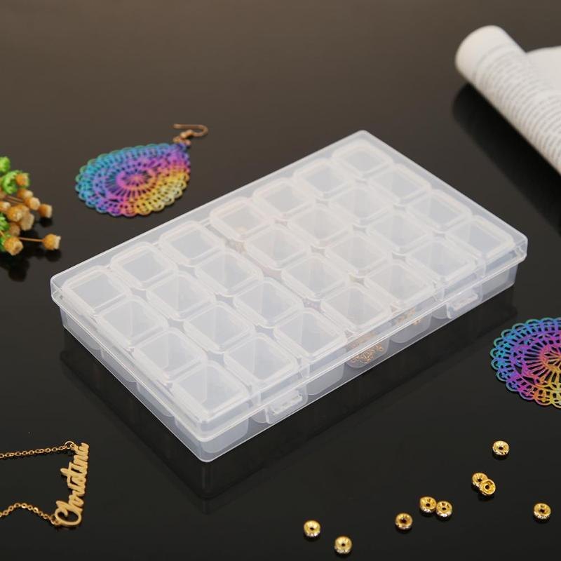 Plastic Box 28 Detachable Diamond Painting Storage Box for Resinstone Bead Pill Container Jewelry Case Holder for Storage image