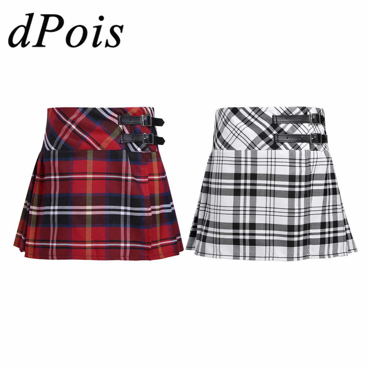 日本の女子高生制服子供タータンプリーツキルトチアリーディングスカート女の子レザーバックルストラップスカートクラススカート