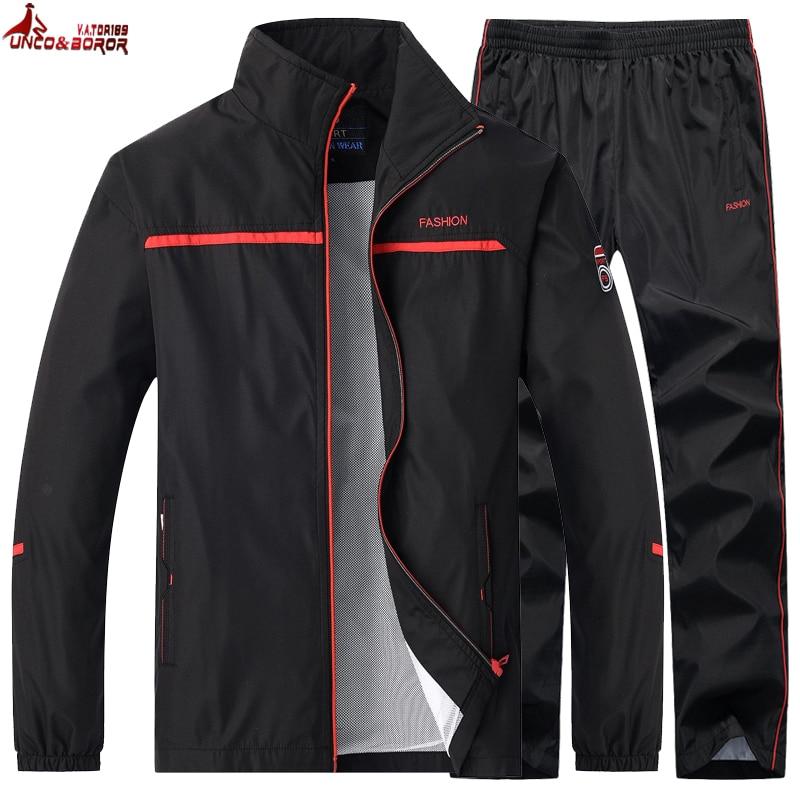 New Men's Sportswear Spring Autumn Two Piece Set Sports Suit Jacket+Pant Sweatsuit Male Basketball Tracksuit Men Clothing