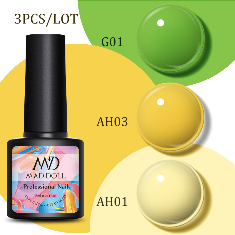 3 Bottles/Set 8ml MAD DOLL Spring  Summer Series Solid Color UV Gel Colorful Soak Off Manicuring Nail UV Gel Polish Nail Art