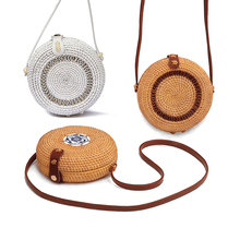 New Fashion 3 colors Round Retro Style Straw Women Rattan Shoulder Bags round rattan bag Handmade Woven Bohemia Crossbody
