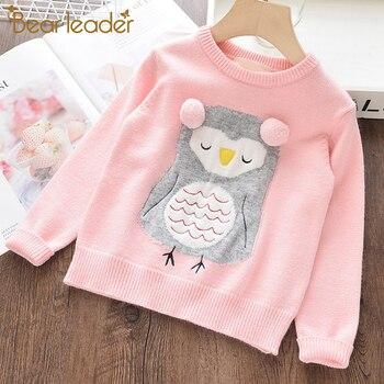 Bear Leader Girls swetry nowe zimowe ubrania dla dziewczynki dzianiny wełniane dzieci sweter kreskówka sowa wzór dzieci odzież z haftami