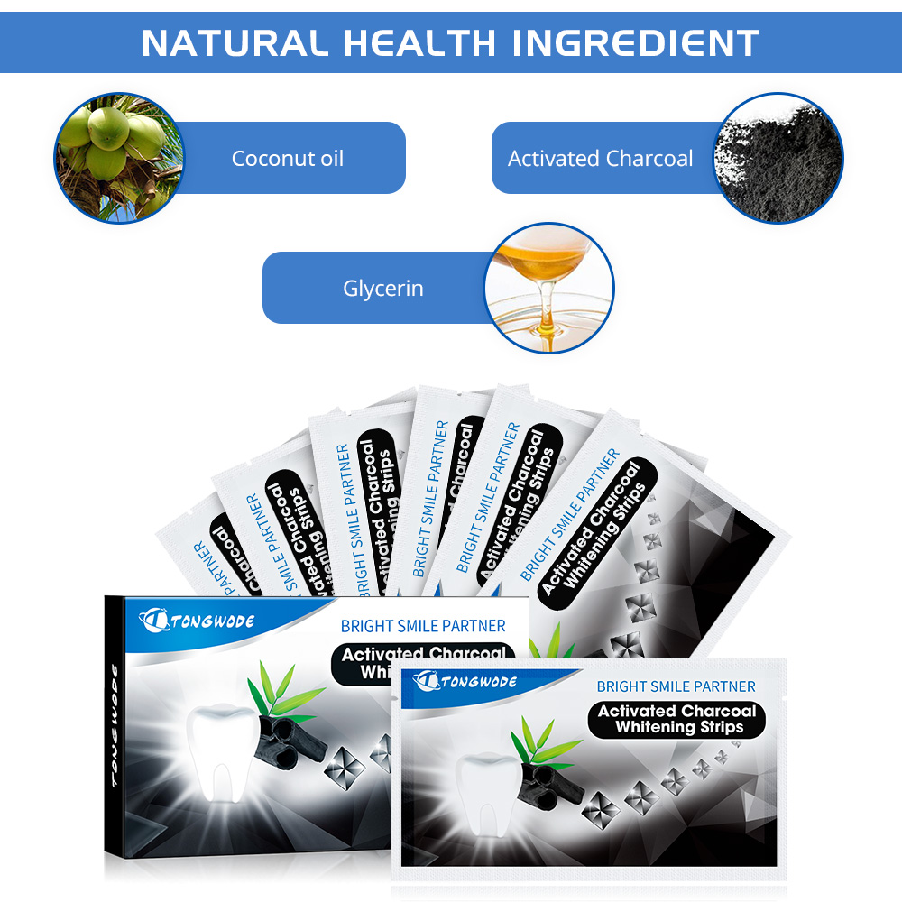 Teeth Whitening Strips Bamboo Charcoal Natural Material Whitening Gel Charcoal Teeth Whitening Strips Activated  Whitener Strips