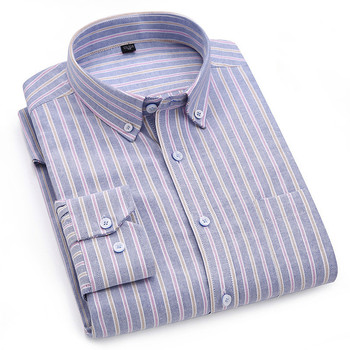 Striped Shirt & Plaid Pure Color 100% Cotton Oxford Mens Shirts with Long Sleeves Casual Men Dress Streetwear