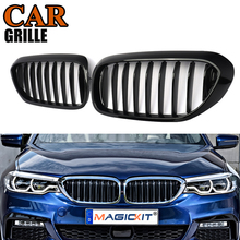 MagicKit Replacement G30 G38 Front Bumper Grill For BMW 5 Series M5 G31 520i 530i 540i ABS Gloss Black Front Sport Kidney Grille for bmw g30 m5 style kidney abs plastic black and m colour auto car styling front racing grill grille for bmw g30 new 5 series