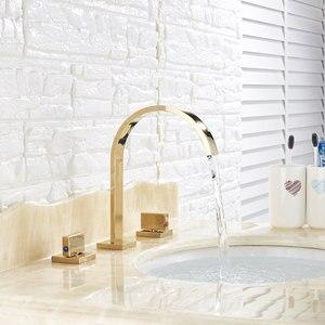 Image 5 - Goldenก๊อกน้ำอ่างล้างหน้าก๊อกน้ำร้อนและเย็นสามหลุมสองจับผสมTap Deck Mount Wash Tub Fauctes