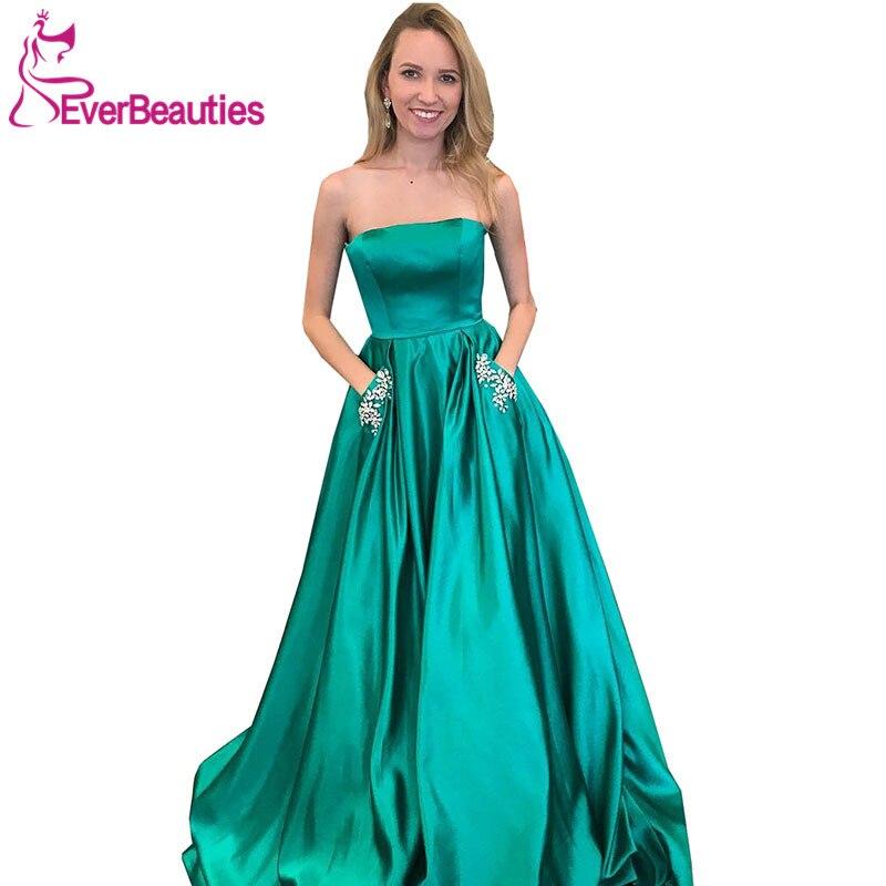 Robe De Soiree 2019   Evening     Dress   with Pockets Satin Beaded Prom Party   Dresses   Sweetheart Abiye Gece Elbisesi
