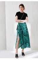 Women Skirt 2019 New Green Zebra Print Silk Pleated Split Skirt