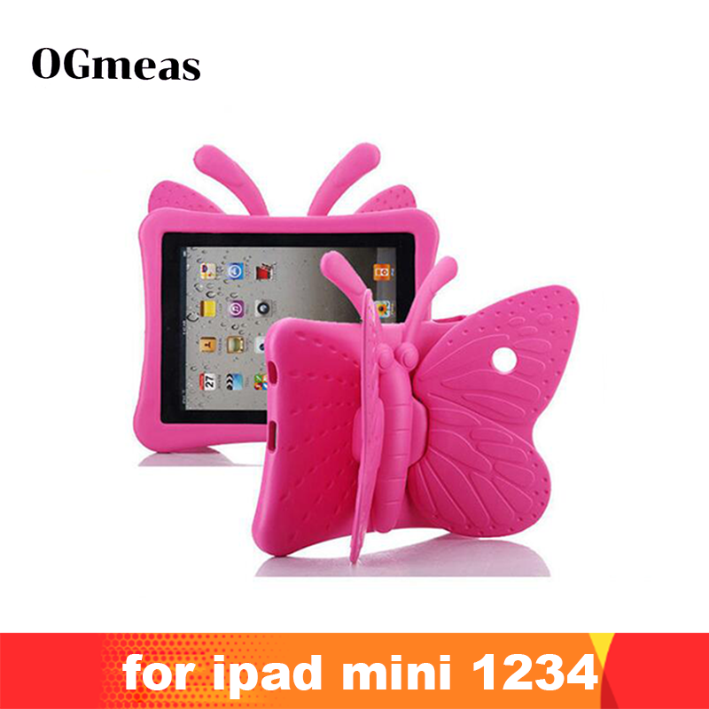 "4 2 3 Case for IPad Mini 1 2 3 7.9"" Cartoon Butterfly Stand Tablet Cover for IPad Mini 4 Kids Safe Cases EVA Shockproof Soft  Fashion (1)"