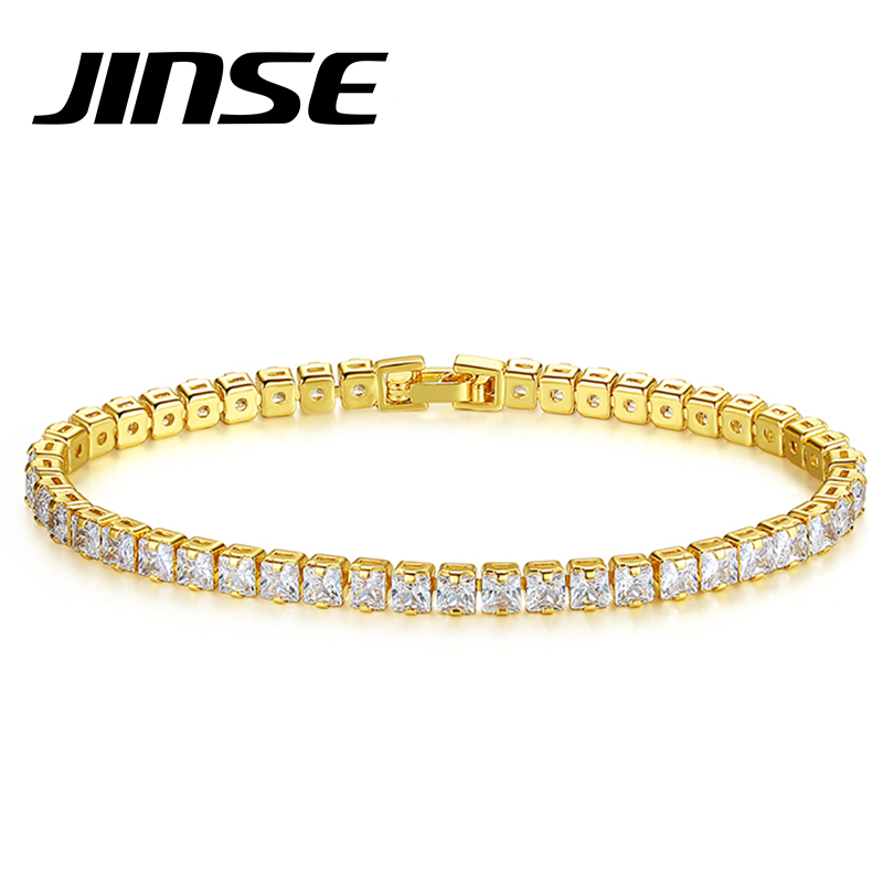 JINSE Cubic Zirconia Tennis Bracelet For Women Men Gold Color Iced Out Crystal Charm Tennis Bracelet Bangle male Bijoux Jewelry