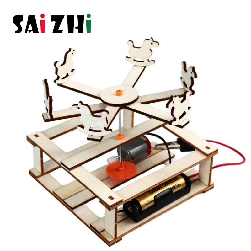 Saizhi DIY Electric Rotate Trojan Model Kits Kids Teaching Students Children STEAM Scientific Experiment Toys Educational Toy