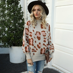 Fashion Womens Leopard print Knitted Sweaters Autumn Winter Turtleneck Lantern sleeve Sweater Lady Casual Loose Pullover Jumper(China)