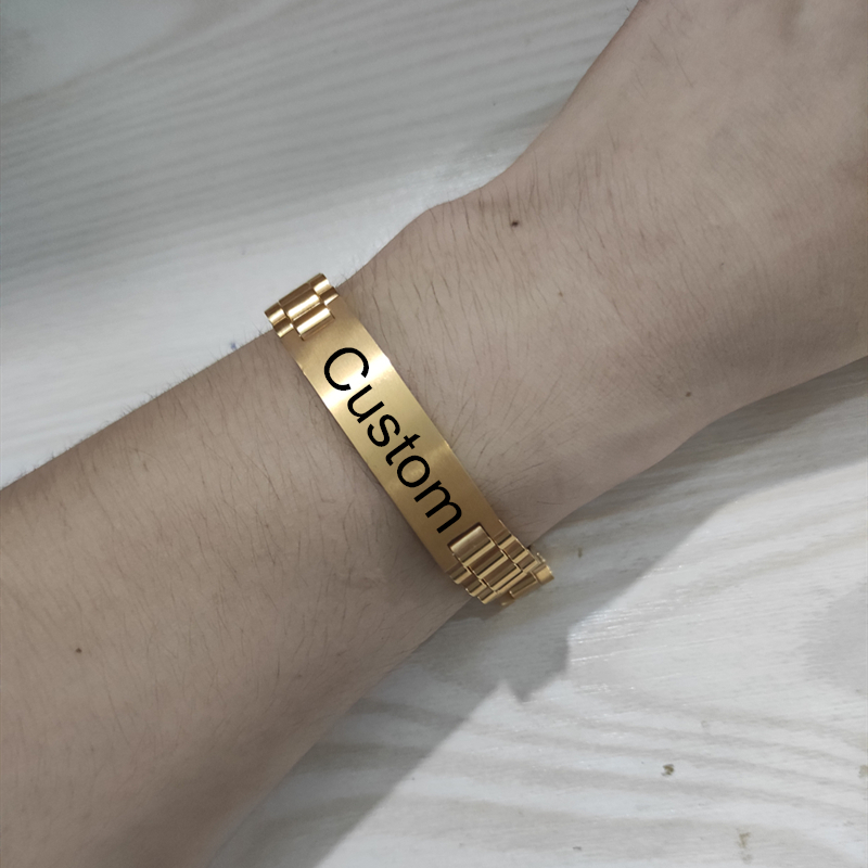 Customized Male Name Bangles Stainless Steel Gold Color Titanium Plated Personalized Nameplate Bracelet Men Jewelry|Customized Bangles|   - AliExpress
