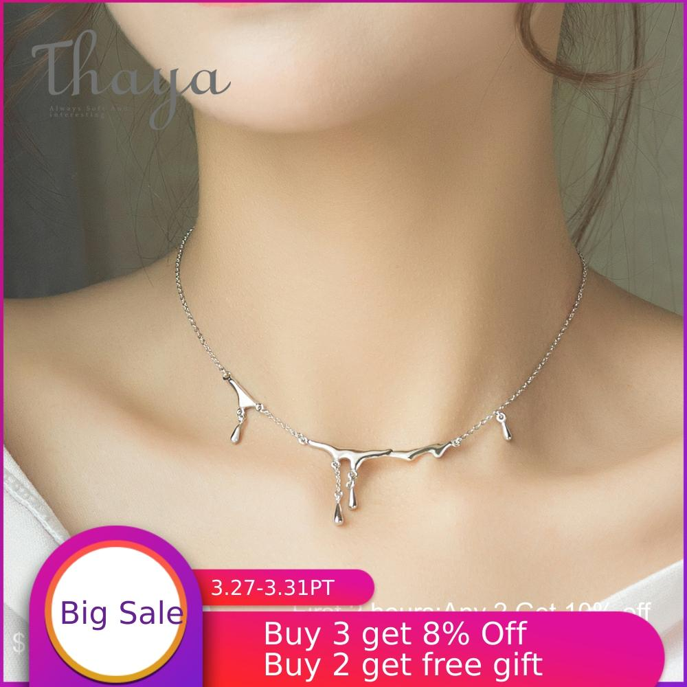 Thaya Original Design Falling Rain Injury S925 Sterling Silver Necklace Simple Choker Necklace Female Jewelry Gift For Women