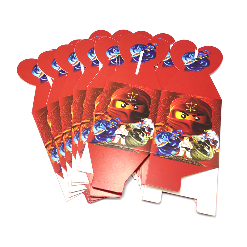 6pcs Happy Birthday Party Baby Shower Gifts Surprise Boxes Ninjago Theme Kids Favors Paperboard Candy Sugar Box Events Supplies