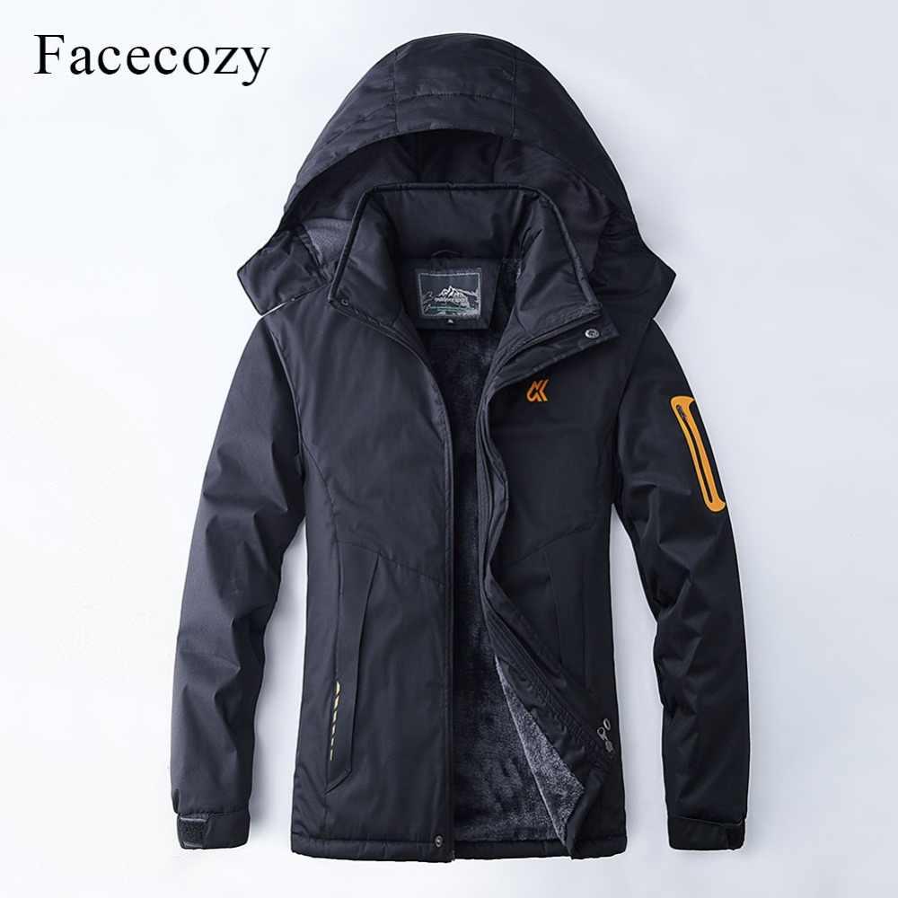 Facecozy 新男性女性の冬の防水ハイキングソフトシェルジャケット暖かいフリース釣りジャケット防風キャンプスキー
