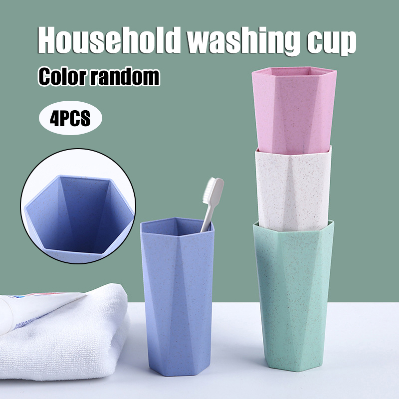 4pcs Unbreakable Reusable Wheats Straw Cup Eco-Friendly Toothbrush Mug for Kids Adult G10