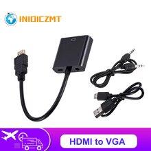 Inioiczmt hdmi para adaptador vga com cabo de áudio de 3.5mm + fonte de alimentação usb 1080p digital para áudio vídeo analógico para computador portátil tablet